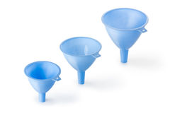 Three plastic funnel. Placed on white background Stock Image
