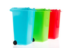 Three plastic roll containers Stock Photos