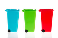Three plastic roll containers Royalty Free Stock Image