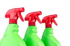 Three plastic spray bottle containers isolated on white background Stock Images
