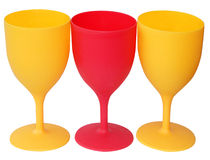 Three Plastic Stemmed Glasses Royalty Free Stock Image