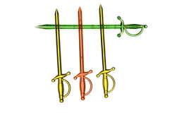 Three plastic swords over a green one Stock Images