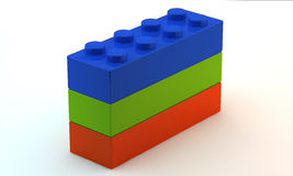 Three plastic toy blocks Stock Photo