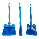 Three plasticblue brooms Stock Images