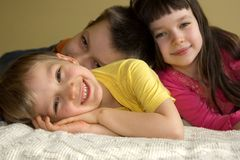 Three Playful Kids Stock Images