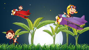 Three playful monkeys playing with the plane under the fullmoon royalty free illustration