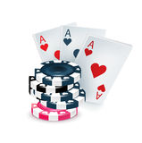 Three playing cards with poker chips isolated Stock Photo
