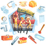 Three Plumbers At Work Surrounded By Profession Related Objects Stock Image