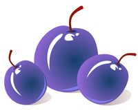 Three plums Stock Photography