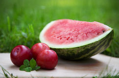 Three plums with watermelon. Slice stock images