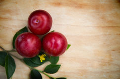 Three plums on wood royalty free stock photo