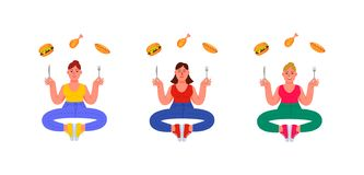 Three plus-size women in a pose of meditation with a fork and a knife in their hands and unhealthy food around. Burger, hot dog royalty free illustration