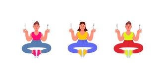 Three plus-size women sit in a meditation position with a fork and knife in their hands, in jeans, t-shirt and sneakers. Set of vector illustration
