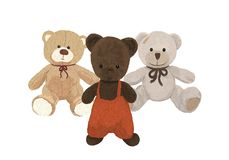 Three plush bears, toys friends Stock Photography