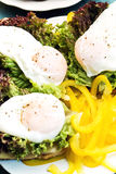 Three poached eggs, red lettuce and yellow bell pepper Royalty Free Stock Photo