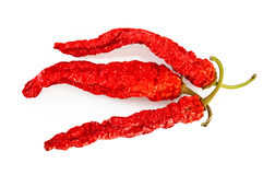 Three pods of dried hot peppers Royalty Free Stock Photography
