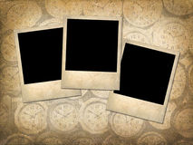 Three Polaroid style photographs on a grungy vintage background Royalty Free Stock Photography