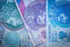 Three Polish zloty banknotes: green, pink and blue.  royalty free stock photo
