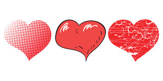 Three pop-art hearts for Valentines day Royalty Free Stock Images