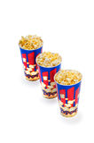 Three Popcorn buckets Stock Photo