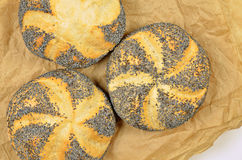 Three Poppy Seed Rolls, Detail Royalty Free Stock Photos