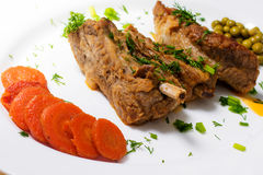 Three pork ribs stew with sweet and sour sauce Royalty Free Stock Photo