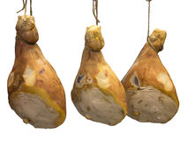 Three pork serrano ham isolated over white Stock Image