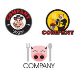 Three porky pig logos Royalty Free Stock Images