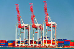 Three Port Cranes Royalty Free Stock Images