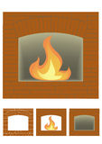 Three portals of fireplace. On a white background Stock Images