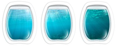 Porthole windows on underwater. Three porthole frame windows of underwater submarine ship on underwater blue background with sunbeams and copy space. Undersea Stock Image