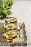 Three portions of vegetable creme soup Stock Photography