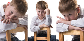 Three portraits collage of little cute blond hair boy in white shirt leaning on the chair Royalty Free Stock Images