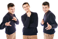 Three portraits handsome exspressive boy Royalty Free Stock Photography