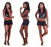 Three poses of African woman with long hair Royalty Free Stock Image
