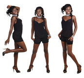 Three poses of African woman with long hair Stock Images