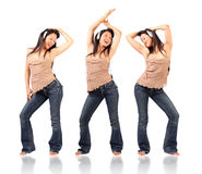 Three poses of dancing woman Royalty Free Stock Photo