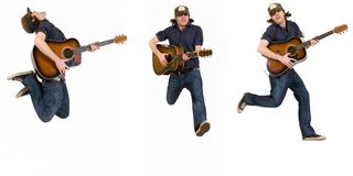 Three poses of a jumping guitarist royalty free stock image
