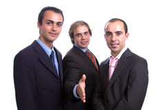 Three positive business men stock photo