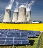 Three possibility for production of electric energy Stock Photo