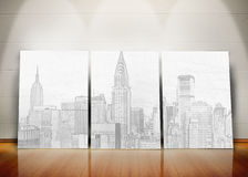 Three posters representing a big city standing in line Royalty Free Stock Photos