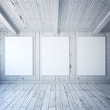 Three posters in wooden room Royalty Free Stock Photography