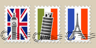 Three Postmarks with sights of Europe. And stamps