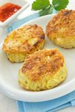 Three potato cakes Stock Photos