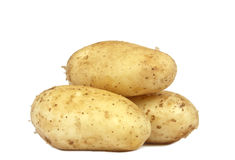 Three Potato isolated on white royalty free stock photography