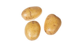 Three  potatoes on an isolated background. Three potatoes isolated on a white background Royalty Free Stock Photography