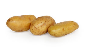 Three Potatoes. Isolated on white background Royalty Free Stock Photos