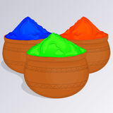 Three pots of colorful gulal or colors powder. Indian traditional paint to celebrate Holi in cartoon style. Vector illustration.. Three pots of colorful gulal Royalty Free Stock Photos