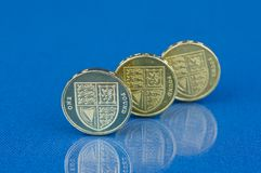 Three pound coins Royalty Free Stock Photography