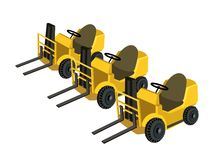 Three Powered Industrial Forklift Truck on White B Stock Images